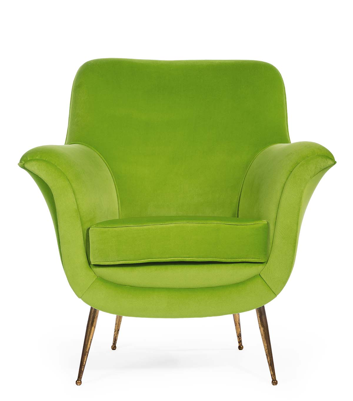 Old antique sixties retro arm chair in lime green upholstery